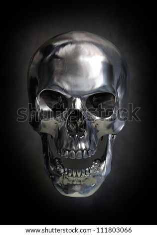 Metallic skull - stock photo
