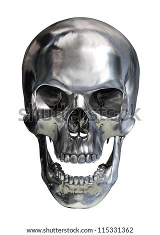 Metal Skull And Crossbones On Glossy Surface Stock Illustration ...