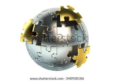 metallic spherical puzzle isolated on white background - stock photo
