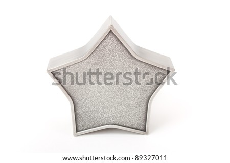 Metallic star with texture isolated - stock photo