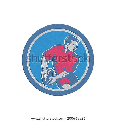 Metallic styled illustration of a rugby player running passing the ball set inside circle done in retro style.