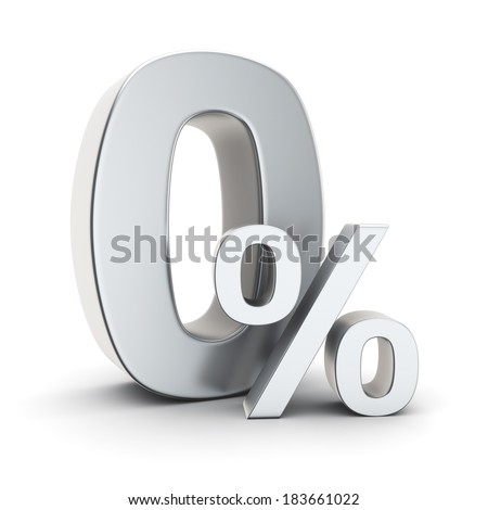 Metallic 0% symbol on the white background - stock photo