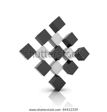 Metallic symbol rhomb from different metallic cubes - stock photo