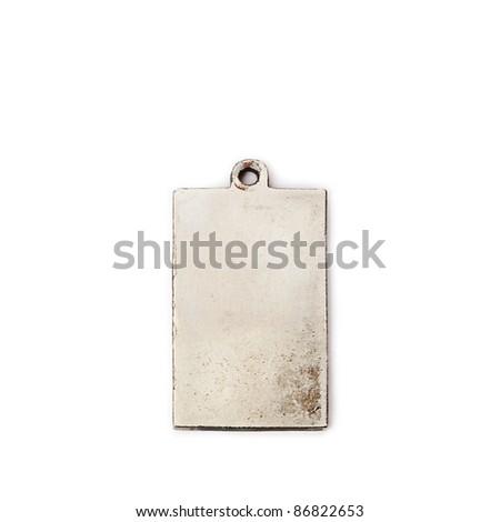 Metallic tag on white background. - stock photo