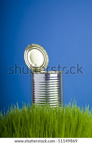 Metallic tin can on the grass - stock photo