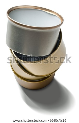 metallic tins pile to be recycled isolated over white background - stock photo