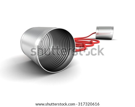 Metallic Toy Can Phone On White Background. 3d Render Illustration - stock photo