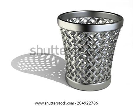 Metallic wastepaper basket empty isolated on a white background. 3d rendering illustration