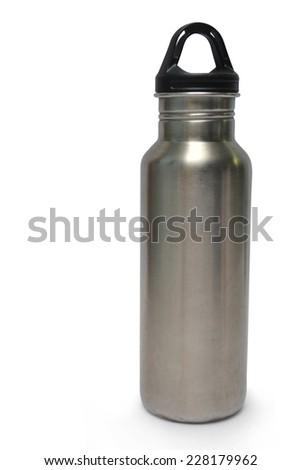 metallic water bottle - stock photo