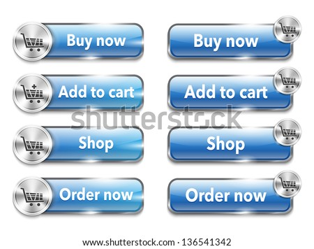 Metallic web elements/buttons for online shopping - stock photo