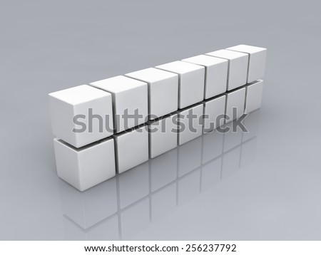 metallic white cubes on gray background., digitally generated image