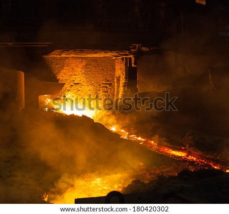 Metallurgical equipment and technology of iron production. Blast furnace. - stock photo