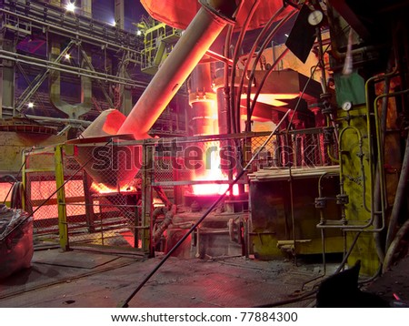 metallurgical works, industrial process, production - stock photo