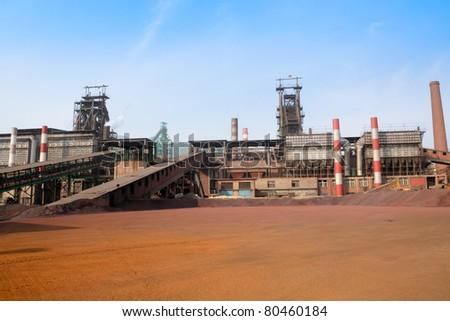 metallurgy industry,metallurgical furnace,iron smelting factory - stock photo