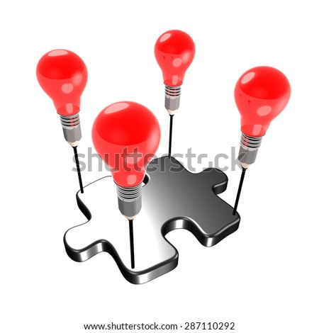 Metaphor about creativity carrying a member of a team (jigsaw). The light bulbs and pencil refer to ideas and creativity. - stock photo