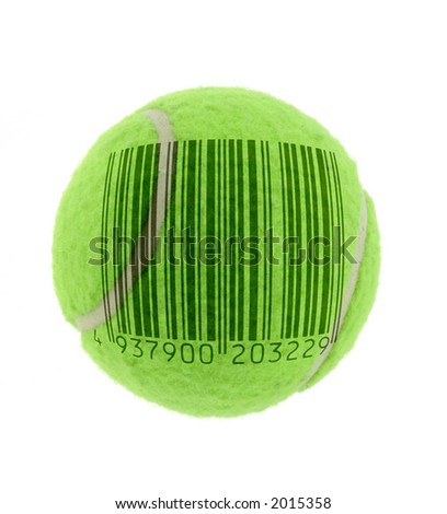 metaphor of commercialised tennis, bar code is fake - stock photo