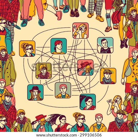 Metaphor of contemporary human relations. Color  illustration. - stock photo