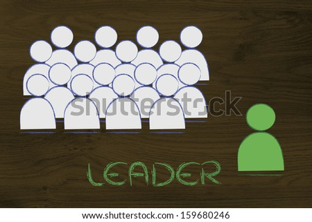 metaphor of individualist person, manager or leader - stock photo
