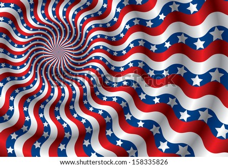 Metaphor of USA flag abstraction distorted by the wind - stock photo