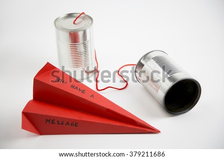 metaphor on the ease with which it can communicate by shortening the distance between people - stock photo