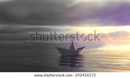 Metaphor. Paper boat swim from dark past into light future. - stock photo