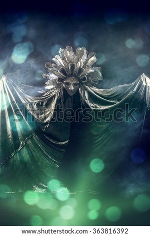 Metaphorical idea of the moon. Folklore. Paganism, worship of the moon. - stock photo