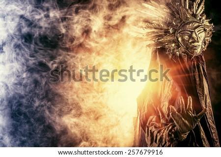 Metaphorical idea of the sun. Folklore. Paganism, worship of the sun. - stock photo