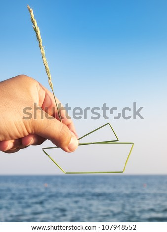 Metaphorical view of man desires to own his vessel... - stock photo