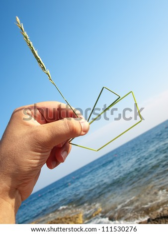 Metaphorical view of man's desire to own a vessel... - stock photo