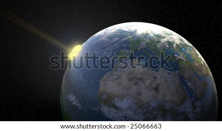 Meteor impact - stock photo
