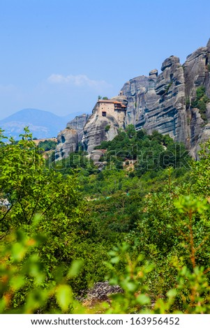 Meteora. Famous Greek Christian monastery on the rock. Greece.