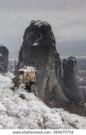 Meteora, Greece and the monasteries  - stock photo