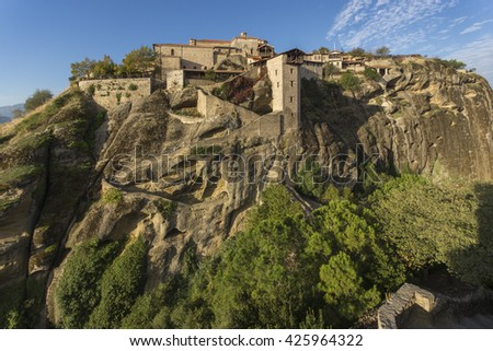 Meteora, Holy Monastery of Great Meteoron, Greece - stock photo