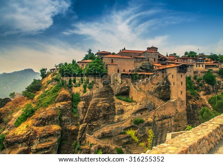 Meteora Monasteries, Greece - stock photo