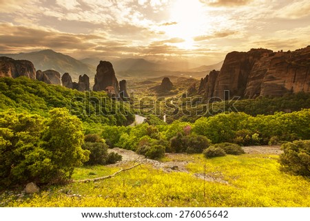 Meteora monasteries in Greece. - stock photo