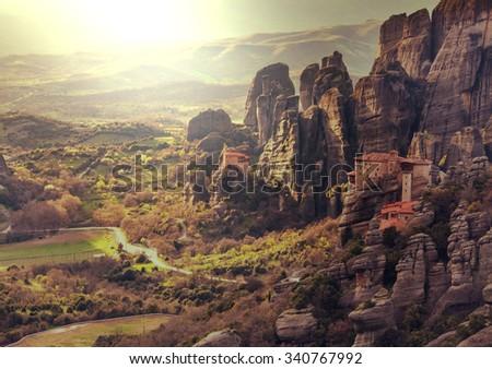 Meteora monasteries in Greece.Instagram filter. - stock photo