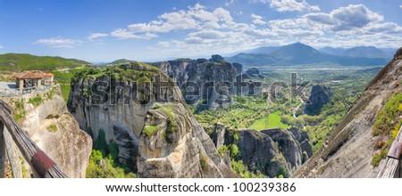 Meteora panorama taken from Grand Meteoron monastery, Greece - stock photo