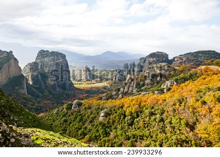 Meteora Rocks and Monasteries, Trikala region, Greece - stock photo