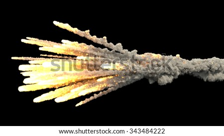 meteorite explosion in the air on black bakcground - stock photo