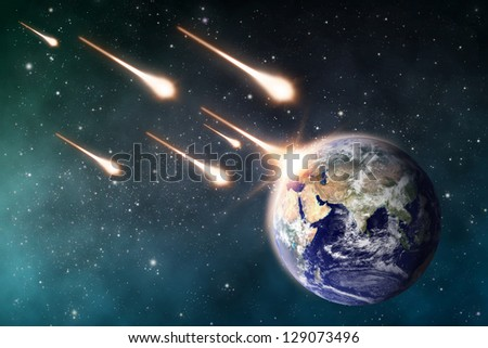 """meteorite impacts the Earth space scene  """"Elements of this image furnished by NASA"""" - stock photo"""