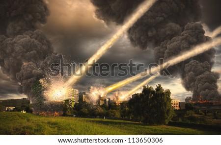 Meteorite shower over buildings - stock photo