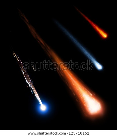 meteorites on the black background (Collage from images from www.nasa.gov) - stock photo
