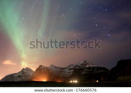 meteorological phenomenon aurora borealis solar storm Lofoten Islands north pole norway - stock photo