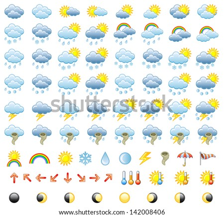 Meteorology Icons Set. Raster version, vector file also included in the portfolio. - stock photo