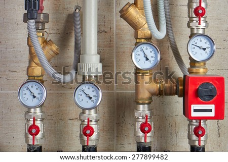 meter heat in the heating system - stock photo
