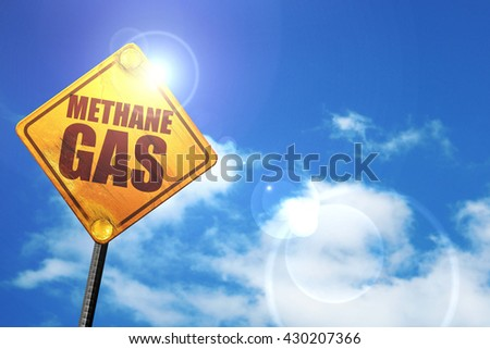 methane gas, 3D rendering, glowing yellow traffic sign
