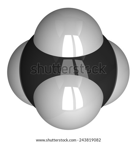 Methane molecule isolated on white. Hydrogen - white, carbon - black