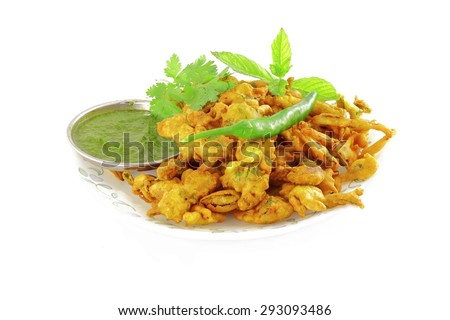 methi pakoda or fritter indian food snack in pure white background
