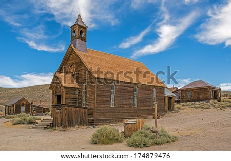 Methodist church in the gold mining ghost town of Bodie, California. a State Historic Park - stock photo