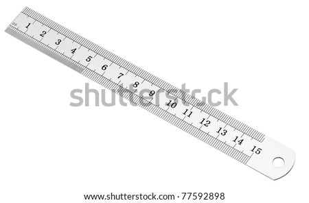 Metric and inch steel ruler, isolated on white.